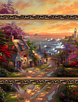 DIY 5D Diamonds Embroidery Seaside Cottage Magic cube Round Diamond Painting Cross Stitch Kits Diamond Mosaic Home Decor