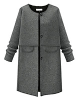 Women's Solid Gray Coat,Simple Long Sleeve Polyester
