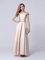 Formal Evening Dress-Champagne Sheath/Column Bateau Ankle-length Polyester