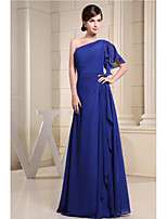 Floor-length Chiffon Bridesmaid Dress-Royal Blue A-line One Shoulder