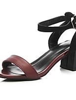 Women's Shoes  Chunky Heel Heels / Peep Toe Sandals Casual Black / Burgundy