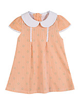 Girl's Green / Orange Clothing Set Cotton Summer / Spring