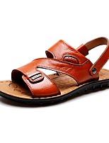 Zapatos de Hombre-Sandalias-Exterior / Casual-PU-Negro / Marrón / Naranja