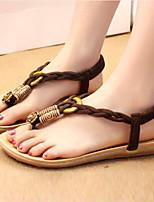 Chaussures Femme-Extérieure / Décontracté-Marron / Blanc-Talon Plat-Tongs-Sandales-Tissu