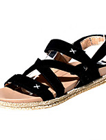 Women's Shoes Suede Flat Heel Comfort / Open Toe Sandals Outdoor / Casual Black / Brown
