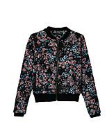 Women's Print Black Coat,Simple Round Neck Long Sleeve