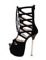 Women's Shoes Fleece Stiletto Heel Peep Toe Sandals Dress Black