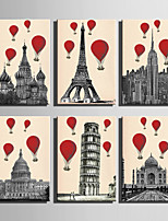 E-HOME® Stretched Canvas Art Hot Air Balloon And European Architecture Series Decoration Painting MINI SIZE One Pcs