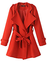 Women's Solid Red / Black Coat,Simple / Street chic Long Sleeve Polyester