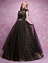 Formal Evening Dress-Black A-line High Neck Floor-length Lace / Tulle