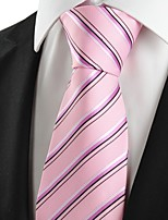 KissTies Men's New Striped Pink Microfiber Tie Necktie For Wedding Party Holiday With Gift Box