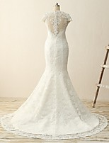 Trumpet/Mermaid Cap Sleeves Wedding Dress-Ivory Court Train V-neck Lace