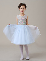 2016 New Fashion Korean Version Sky Blue Chiffon A-line Knee-length Sequined Flower Girl Dresses