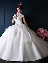 A-line Wedding Dress-Ivory Court Train High Neck Cotton / Lace / Tulle