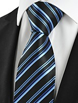 KissTies Men's Striped Blue Black Microfiber Tie Necktie For Wedding Holiday With Gift Box