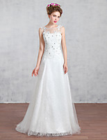 A-line Wedding Dress-Ruby / White Court Train Jewel Lace / Tulle