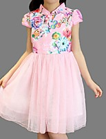 Girl's Blue / Pink / White Dress,Lace Cotton Summer