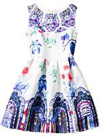 Girl's Blue / Red Dress / Skirt,Print Polyester Summer / Spring / Fall
