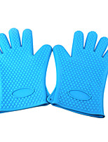 Silicone Microwave Oven Heat Insulation Gloves Blue Pair
