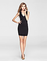 Cocktail Party Dress Sheath/Column V-neck Short/Mini Charmeuse