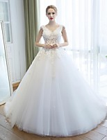 Ball Gown Wedding Dress - White Cathedral Train V-neck Lace / Tulle