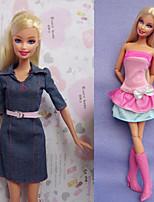 Poupée Barbie-Multicolore-Informel-Robes- enToile / Satin Stretch
