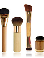 Flat Foundation Brush+ Airbrush Finish Bamboo Brush+Double-ended Contouring Brush+Airbuki  Powder Foundation Brush