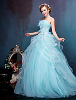 Princess Wedding Dress-Daffodil / Pool Floor-length Strapless Crepe / Lace / Tulle / Stretch Satin