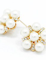 Lady's Pearl Crystal 18K Gold Plated Stud Earrings