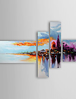 Oil Painting Modern Abstract Set of 4 Hand Painted Canvas with Stretched Framed