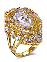 Dress evening Drop Main stone Clear White Cubic Zirconia18K Gold Plated Lead free Brass Rings