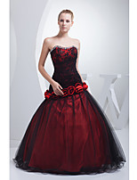 Formal Evening Dress-Burgundy Ball Gown Strapless Floor-length Lace / Satin / Tulle
