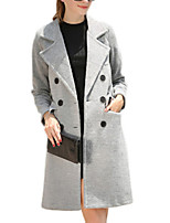 Women's Solid Gray Pea Coats,Simple Long Sleeve Polyester