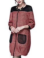 Women's Patchwork Red Coat,Simple ¾ Sleeve Polyester