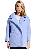 Women's Solid Blue Pea Coats,Simple Long Sleeve Polyester