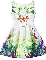 Girl's Green Dress / Skirt,Print Polyester Summer / Spring / Fall