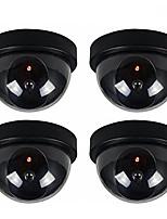 4 stuks / pak indoor outdoor cctv valse security dummy dome camera met flahsing rode led licht