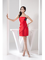 Cocktail Party Dress-Ruby Sheath/Column Strapless Short/Mini Taffeta