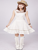 Steampunk® White Pintuck Sleeveless Bow Double Breasted Cotton Classic Lolita Dress