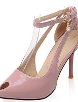 Women's Shoes Patent Leather/Stiletto Heel/Pointed Toe/Open Toe Heels Party & Evening/Dress Black/Pink/Beige