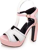 Chaussures Femme-Mariage / Habillé / Soirée & Evénement-Bleu / Rose / Beige-Gros Talon-Talons / Bout Ouvert / A Plateau-Sandales-