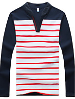 Men's Striped Casual T-Shirt,Cotton / Spandex Long Sleeve-Blue / Red
