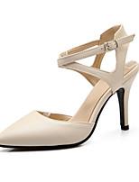 Chaussures Femme-Décontracté-Noir / Beige-Talon Aiguille-Talons / Bout Pointu-Talons-Similicuir
