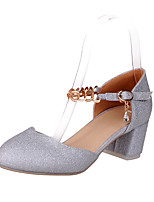 Women's Shoes Chunky Heel Heels / Round Toe Heels Dress Blue / Purple / Silver / Gold