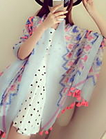 National Wind Fringed Fluorescent Ribbon Cotton Printed Summer Wide Scarves  Scarf Shawl