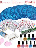 36Pcs /Set  DIY Tips Polish Templates Stencil Manicure Tools  (Nail Plates + Nail Sticker Random)