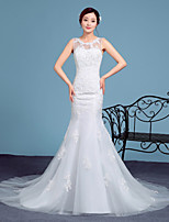 Trumpet/Mermaid Wedding Dress-White Court Train Scoop Lace / Tulle
