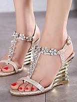 Women's Shoes Synthetic Wedge Heel Open Toe Sandals Party & Evening / Dress Purple / Almond