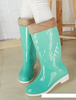 Women's Shoes Silicone Low Heel Rain Boots Flats / Boots Outdoor Blue / Yellow / Green / Pink
