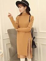 Women's Solid Pink / Black / Brown / Gray Dress,Street chic Long Sleeve